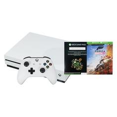 Игровая консоль MICROSOFT Xbox One S с 1 ТБ памяти, игрой Forza Horizon 4, Абонемент 1 месяц Game Pass и 14 дней пробной подписки Xbox Live Gold., 234-00562, белый