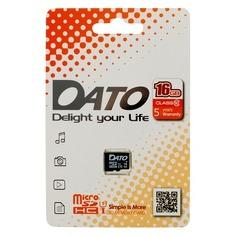 Карта памяти microSDHC UHS-I U1 DATO 16 ГБ, 40 МБ/с, Class 10, DTTF016GUIC10, 1 шт.
