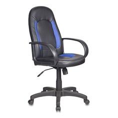 Кресло руководителя БЮРОКРАТ CH-826, на колесиках, искусственная кожа, черный/синий [ch-826/b+bl]
