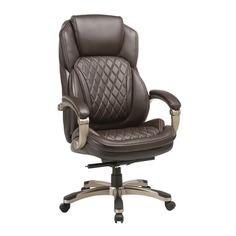 Кресло руководителя БЮРОКРАТ T-9915, на колесиках, рециклированная кожа/кожзам, коричневый [t-9915/brown]