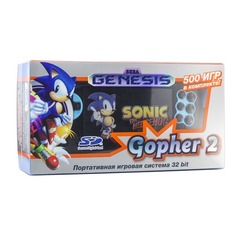 Игровая консоль RETRO GENESIS Gopher 2 500 игр, черный/синий