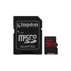Карта памяти microSDXC UHS-I KINGSTON Canvas React 512 ГБ, 100 МБ/с, Class 10, SDCR/512GB, 1 шт., переходник SD