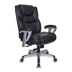 Кресло руководителя БЮРОКРАТ T-9999, на колесиках, рециклированная кожа/кожзам, черный [t-9999/black]