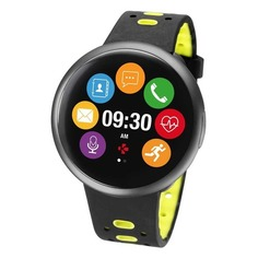 "Смарт-часы MYKRONOZ ZeRound2HR Premium, 12.8мм, 1.22"", черный / черный/зеленый [krzeround2hr-bk/yell]"