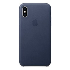 Чехол (клип-кейс) APPLE Leather Case, для Apple iPhone XS, темно-синий [mrwn2zm/a]