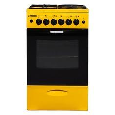 Газовая плита REEX CGE-531, электрическая духовка, без крышки, желтый