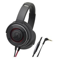 Наушники AUDIO-TECHNICA ATH-WS550iS BRD, 3.5 мм, накладные, черный/красный [10102360]
