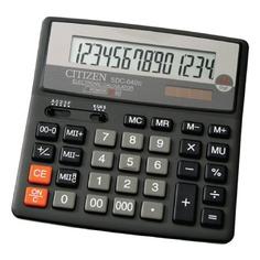 Калькулятор CITIZEN SDC-640 II, 14-разрядный, черный
