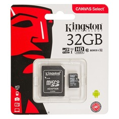 Карта памяти microSDHC UHS-I U1 KINGSTON Canvas Select 32 ГБ, 80 МБ/с, Class 10, SDCS/32GB, 1 шт., переходник SD