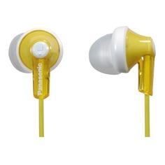 Наушники PANASONIC RP-HJE118GU, 3.5 мм, вкладыши, белый/желтый [rp-hje118guy]
