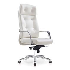 Кресло руководителя БЮРОКРАТ _DAO, на колесиках, кожа, белый [_dao/white]