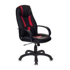 Кресло игровое БЮРОКРАТ Viking-8, на колесиках, искусственная кожа, черный/красный [viking-8/bl+red]