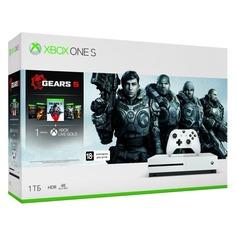 Игровая консоль MICROSOFT Xbox One S с 1 ТБ памяти, играми: Gears 5, Gears of War: Ultimate Edition, Gears of War 2, 3, 4, 234-01030, белый