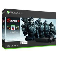 Игровая консоль MICROSOFT Xbox One X с 1ТБ памяти, играми: Gears 5, Gears of War: Ultimate Edition, Gears of War 2, 3, 4, CYV-00331, черный