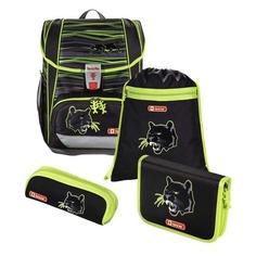 Ранец Step By Step Light2 Wild Cat черный/зеленый 4 предмета