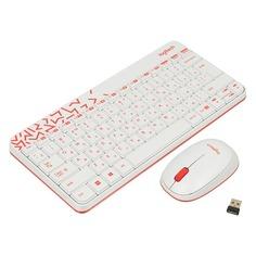 Комплект (клавиатура+мышь) LOGITECH MK240, USB, беспроводной, белый и красный [920-008212]