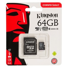 Карта памяти microSDXC UHS-I U1 KINGSTON Canvas Select 64 ГБ, 80 МБ/с, Class 10, SDCS/64GB, 1 шт., переходник SD