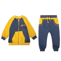 Комплект кофта/брюки Ярко Вертолётики, цвет: синий/желтый