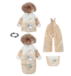 Комплект куртка/полукомбинезон/сумка Alex Junis Пони, цвет: бежевый