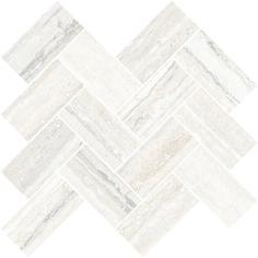 Мозаика Vitra Travertini Шеврон Белый 5х10 28x31,5 см