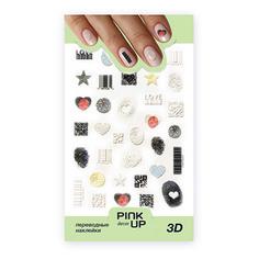 Наклейки для ногтей PINK UP DECOR 3D переводные тон 694