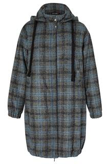 Синее пальто в клетку с капюшоном Terekhov Girl