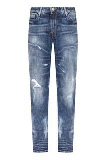 Синие джинсы с прорезями Emporio Armani