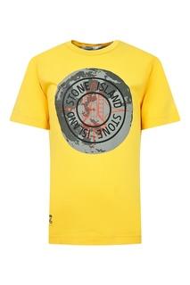 Желтая футболка с серым логотипом Stone Island Kids