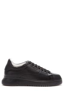 Черные кожаные кеды Emporio Armani