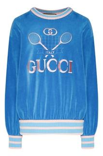 Синий свитшот с рисунком Gucci