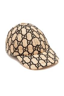 Соломенная кепка с монограммами Gucci