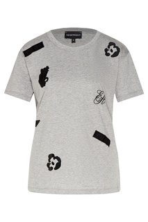 Серая футболка с эмблемами Emporio Armani