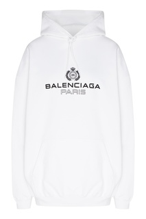 Белое худи с логотипом и карманом-кенгуру Balenciaga