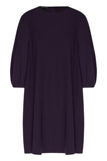 Фиолетовое платье с присборенными рукавами Emporio Armani