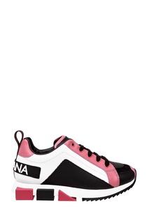 Комбинированные кроссовки с логотипами Dolce&Gabbana Children