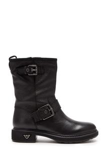 Кожаные ботинки черного цвета Emporio Armani