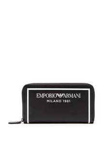 Черный кошелек с контрастной окантовкой Emporio Armani
