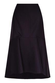 Темно-синяя юбка-годе Balenciaga
