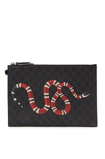 Черный клатч со змеей Gucci Man