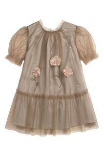 Двуслойное платье с аппликацией Bonpoint