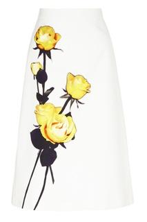 Белая юбка-миди с цветочным рисунком Prada