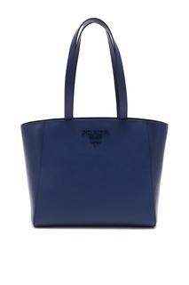 Синяя сафьяновая сумка-тоут Shopping Prada