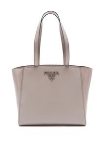 Серая сафьяновая сумка-тоут Shopping Prada