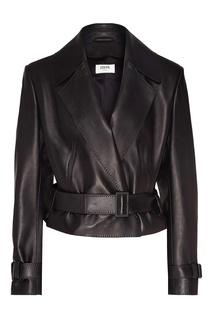 Черная кожаная куртка с ремнем Izeta