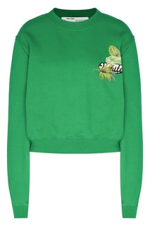 Ярко-зеленый свитшот с логотипом Off White