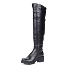 Черные кожаные ботфорты из кожи Respect