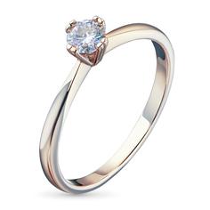 Кольцо из красного золота с бриллиантом э02к051602 ЭПЛ Якутские Бриллианты