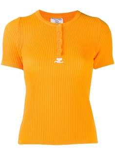 Courrèges Pre-Owned трикотажная футболка в рубчик