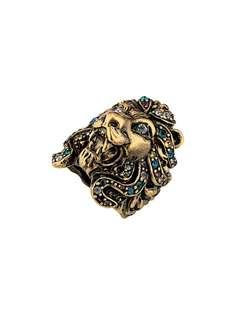 Gucci кольцо в виде головы льва с кристаллами