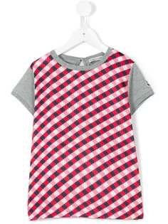 Moncler Kids футболка с клетчатой панелью